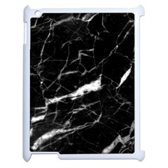 Black Texture Background Stone Apple Ipad 2 Case (white) by Celenk
