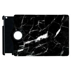Black Texture Background Stone Apple Ipad 2 Flip 360 Case by Celenk