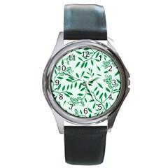 Leaves Foliage Green Wallpaper Round Metal Watch