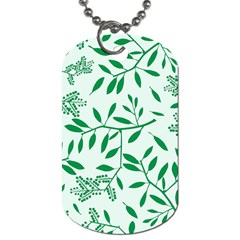 Leaves Foliage Green Wallpaper Dog Tag (one Side) by Celenk