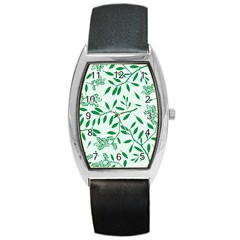 Leaves Foliage Green Wallpaper Barrel Style Metal Watch by Celenk
