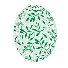 Leaves Foliage Green Wallpaper Oval Filigree Ornament (two Sides) by Celenk