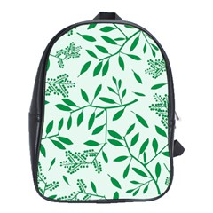 Leaves Foliage Green Wallpaper School Bag (xl) by Celenk