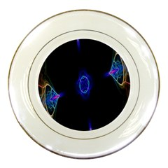 Lightning Kaleidoscope Art Pattern Porcelain Plates by Celenk