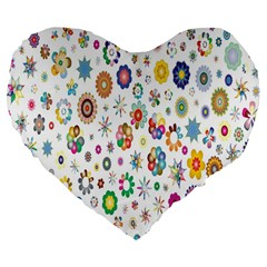 Design Aspect Ratio Abstract Large 19  Premium Flano Heart Shape Cushions by Celenk