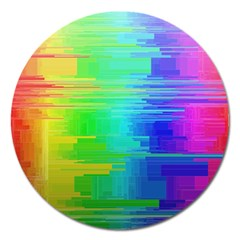 Colors Rainbow Chakras Style Magnet 5  (round) by Celenk