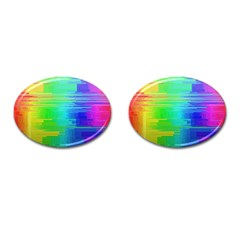 Colors Rainbow Chakras Style Cufflinks (oval) by Celenk