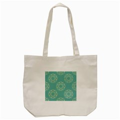 Floral Vintage Royal Frame Pattern Tote Bag (cream) by Celenk