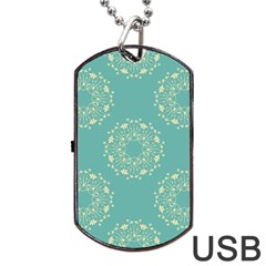Floral Vintage Royal Frame Pattern Dog Tag Usb Flash (one Side) by Celenk