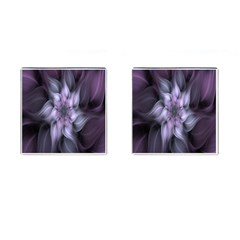 Fractal Flower Lavender Art Cufflinks (square) by Celenk