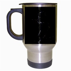 Black Texture Background Stone Travel Mug (silver Gray) by Celenk