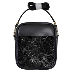 Black Texture Background Stone Girls Sling Bags by Celenk