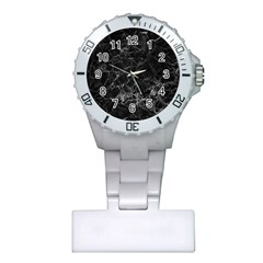 Black Texture Background Stone Plastic Nurses Watch by Celenk