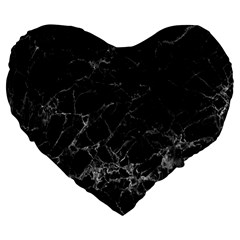 Black Texture Background Stone Large 19  Premium Flano Heart Shape Cushions by Celenk