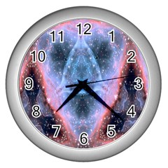 Sacred Geometry Mandelbrot Fractal Wall Clocks (silver)  by Celenk
