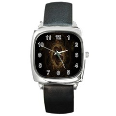 Beads Fractal Abstract Pattern Square Metal Watch by Celenk