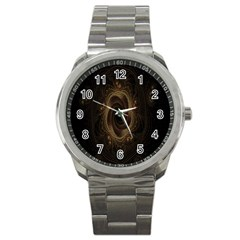 Beads Fractal Abstract Pattern Sport Metal Watch by Celenk
