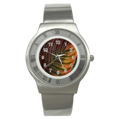 Leaf Colorful Nature Orange Season Stainless Steel Watch by Celenk