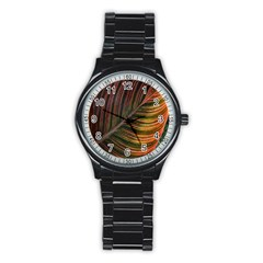 Leaf Colorful Nature Orange Season Stainless Steel Round Watch by Celenk