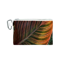 Leaf Colorful Nature Orange Season Canvas Cosmetic Bag (s) by Celenk