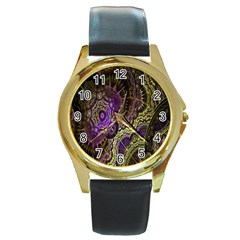 Abstract Fractal Art Design Round Gold Metal Watch by Celenk