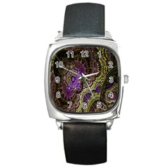 Abstract Fractal Art Design Square Metal Watch by Celenk