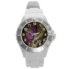 Abstract Fractal Art Design Round Plastic Sport Watch (l) by Celenk