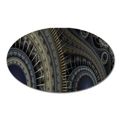 Fractal Spikes Gears Abstract Oval Magnet by Celenk