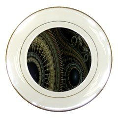 Fractal Spikes Gears Abstract Porcelain Plates by Celenk