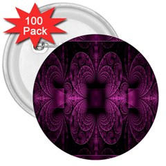 Fractal Magenta Pattern Geometry 3  Buttons (100 Pack)  by Celenk