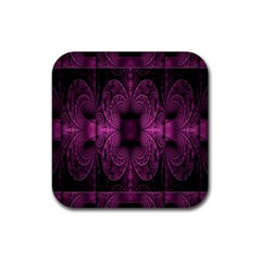 Fractal Magenta Pattern Geometry Rubber Coaster (square)  by Celenk