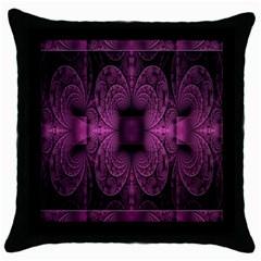 Fractal Magenta Pattern Geometry Throw Pillow Case (black) by Celenk
