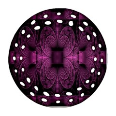 Fractal Magenta Pattern Geometry Round Filigree Ornament (two Sides) by Celenk