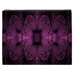 Fractal Magenta Pattern Geometry Cosmetic Bag (xxxl)  by Celenk