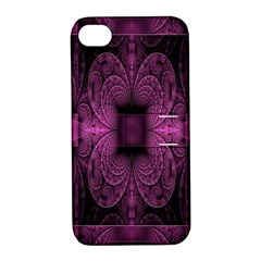 Fractal Magenta Pattern Geometry Apple Iphone 4/4s Hardshell Case With Stand by Celenk