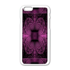 Fractal Magenta Pattern Geometry Apple Iphone 6/6s White Enamel Case by Celenk