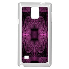 Fractal Magenta Pattern Geometry Samsung Galaxy Note 4 Case (white) by Celenk