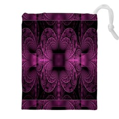 Fractal Magenta Pattern Geometry Drawstring Pouches (xxl) by Celenk