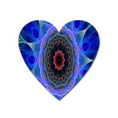 Cosmic Flower Kaleidoscope Art Heart Magnet by Celenk