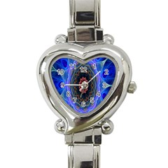 Cosmic Flower Kaleidoscope Art Heart Italian Charm Watch by Celenk