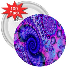 Fractal Fantasy Creative Futuristic 3  Buttons (100 Pack)  by Celenk