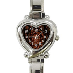 Fractal Red Brown Glass Fantasy Heart Italian Charm Watch by Celenk
