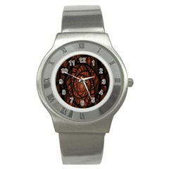 Fractal Red Brown Glass Fantasy Stainless Steel Watch by Celenk