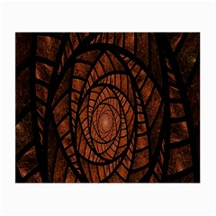 Fractal Red Brown Glass Fantasy Small Glasses Cloth (2 Side) by Celenk