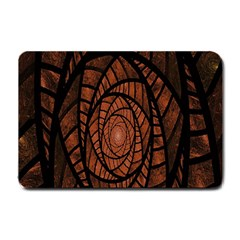 Fractal Red Brown Glass Fantasy Small Doormat  by Celenk