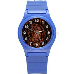 Fractal Red Brown Glass Fantasy Round Plastic Sport Watch (s) by Celenk