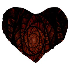 Fractal Red Brown Glass Fantasy Large 19  Premium Heart Shape Cushions by Celenk