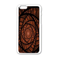 Fractal Red Brown Glass Fantasy Apple Iphone 6/6s White Enamel Case by Celenk
