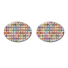 Decorative Ornamental Concentric Cufflinks (oval) by Celenk