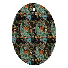 Pattern Background Fish Wallpaper Ornament (oval) by Celenk